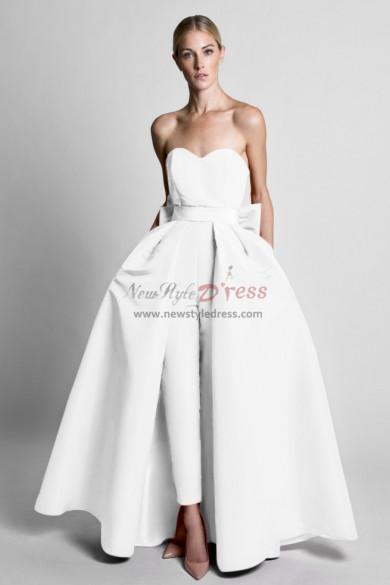 Satin Wedding Jumpsuit dresses With Detachable Train White wps-167