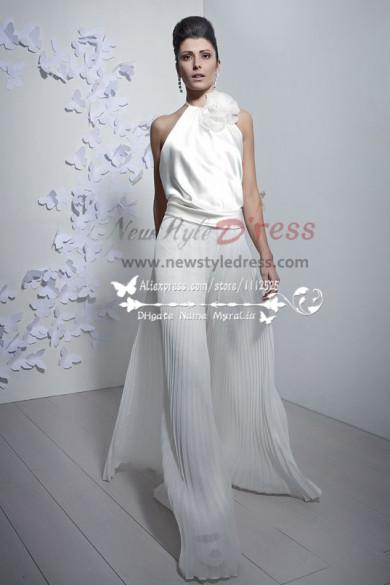 Charming bridal jumpsuit Halter wide legs accordion pleats pants culottes wps-033