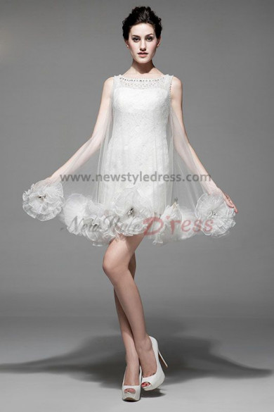 under 100 White Lace flower Vest Cocktail Dresses Unique nm-0191