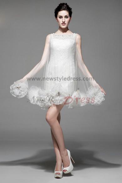 Ivory Lace flower Vest Cocktail Dresses Unique nm-0191