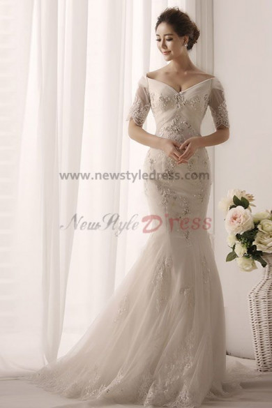 2015 New Arrival Off the Shoulder Hand Beading Trumpet Cheap wedding gowns nw-0163
