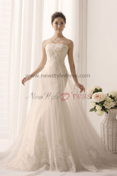 A-Line Strapless Lace Appliques Chapel Train Elegant under 200 wedding gown nw-0161