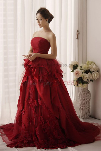 Burgundy Chiffon Multilayer Strapless Sweep Train Classic Wedding Gown nw-0165