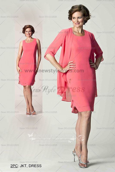 Chiffon 2PC Knee-Length mother of the bride dress for the beach wedding sweet watermelon red cms-053