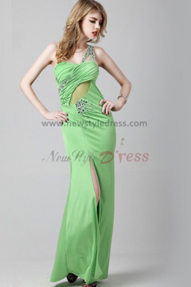 Green One Shoulder Split Front Sweetheart Cheap prom dresses np-0286