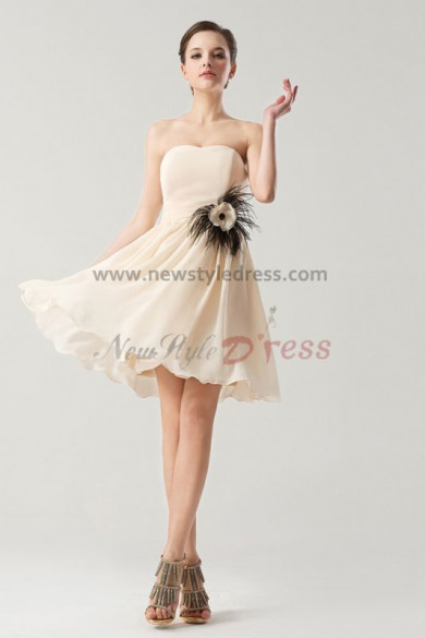 Strapless Chiffon Short Feathers Bridesmaids Dresses Under 100 nm-0177
