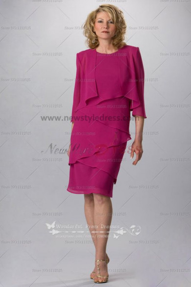 Knee-Length rose red Informal mother of the bride dress with jacket cms-063