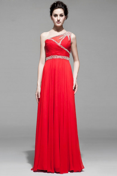 One Shoulder Red Lilac White Hand beading Prom Dresses nm-0167