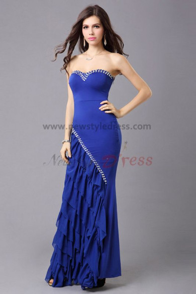 Royal Blue Strapless Multilayer Charmeuse Informal prom dresses np-0325