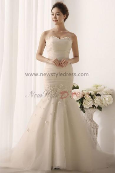 Sheath Mermaid Hot Sale Appliques Elegant Cheap Wedding Gown nw-0166
