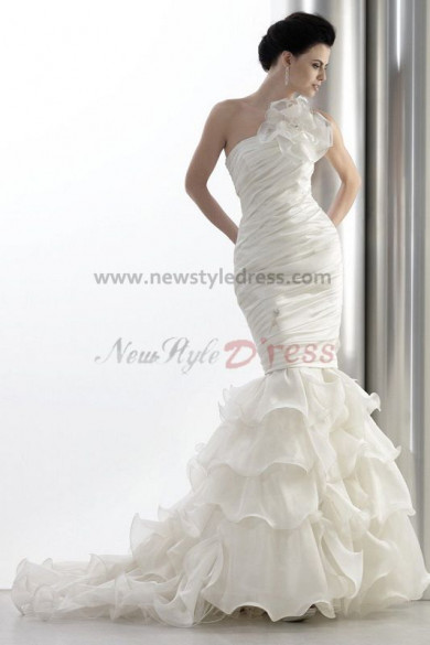 Sheath Ruched One Shoulder Elegant Wedding Dress nw-0286
