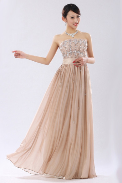 Strapless flesh pink Prom Dresses Chest With Sequins Pleat nm-0178