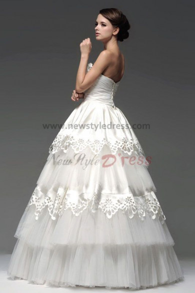 Ball Gown Satin Tiered Wedding Dresses Chest With beading nw-0106
