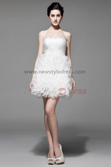 Strapless Ruffles White Short Sexy Cocktail Dresses nm-0198