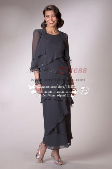 Ankle-Length Charcoal chiffon mother