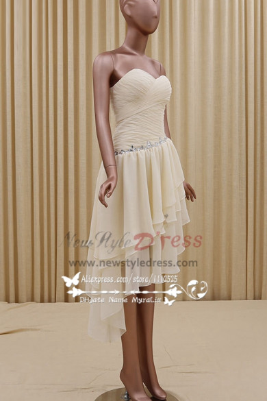 Champagne Homecoming dress Simple short Sweetheart bridesmaid dresses