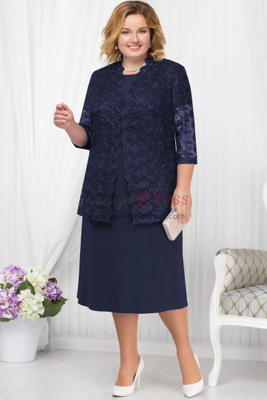 Plus size Dark navy  Mother of the bride dress with Lace jacket Classic Women