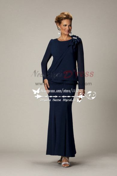 Elegant Dark navy slim-fitting Long Sleeves mother of the bride dress cms-066