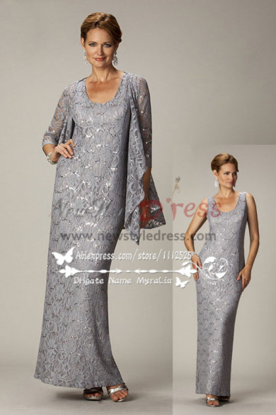 Elegant gray lace two piece mother of the bride dress with jacket cms-084