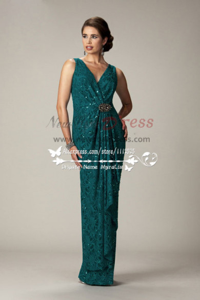 Glamorous V-neck green lace mother of the bride dress cms-078
