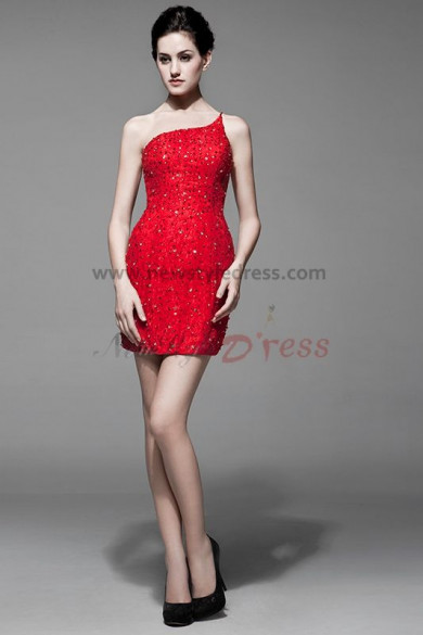 hip package disassemble One Shoulder beading Lace Sheath Ivory red prom dresses nw-0168