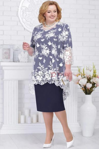 Plus size Mother of the bride dresses Dark navy Knee-Length women
