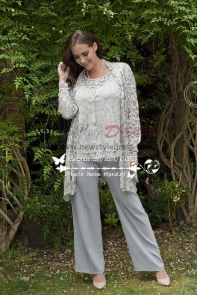 Loose Silver Grey Lace Groom of the bride pant suits nmo-249