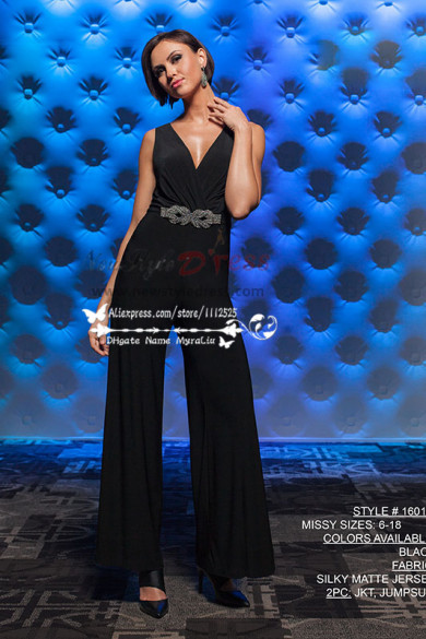 Mother of the bride pantsuit Fashion sexy black Jumpsuit nmo-216