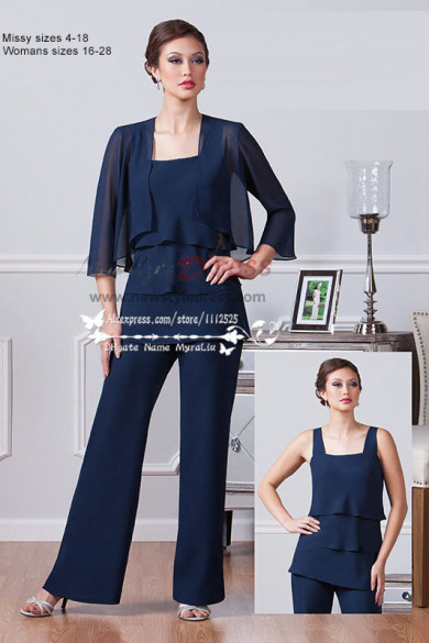 New arrival mother of the bride pant suit dark blue chiffon three piece Trousers dress Customize nmo-252
