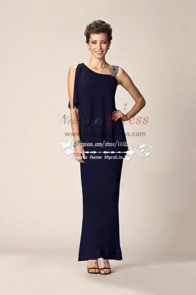 One Shoulder Dark navy Elegant chiffon mother of the bride dress cms-092
