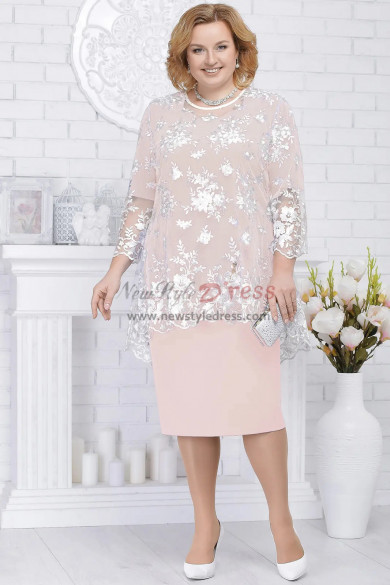 Pink Plus size Mother of the bride dresses Knee-Length 2PC women