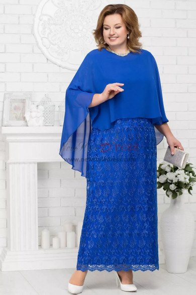 Plus size mother of the bride dresses with chiffon Poncho Royal blue Evening Gown nmo-567
