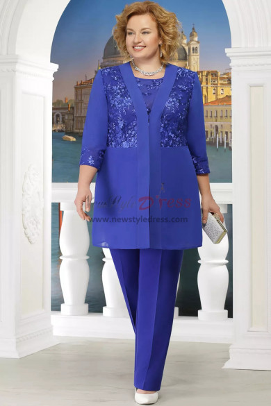 Plus size Mother of the bride pant suit with Elastic waist 3PC Trousers set Royal blue nmo-574