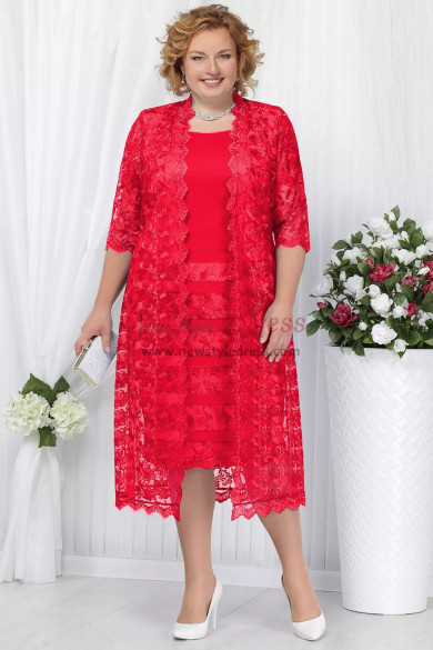Red Lace Mother of the bride dress with jacket Plus size Mid-Calf lace women