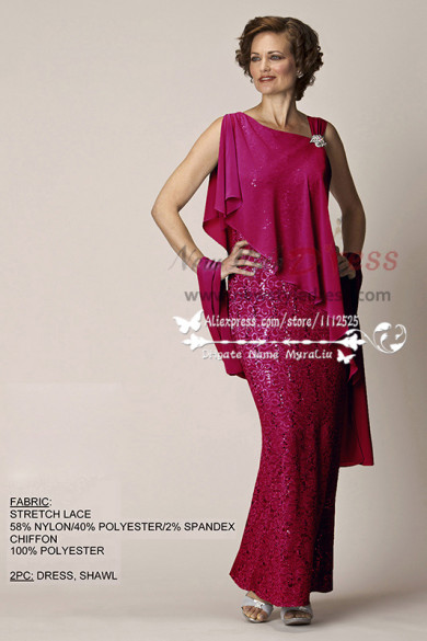 Roes Red Glamorous mother of the bride dress with chiffon shawl cms-083