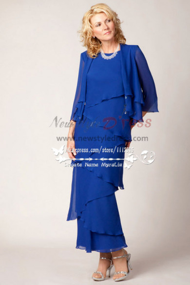 2019 new arrival Royal Blue Floor-Length mother of the groom dress cms-087