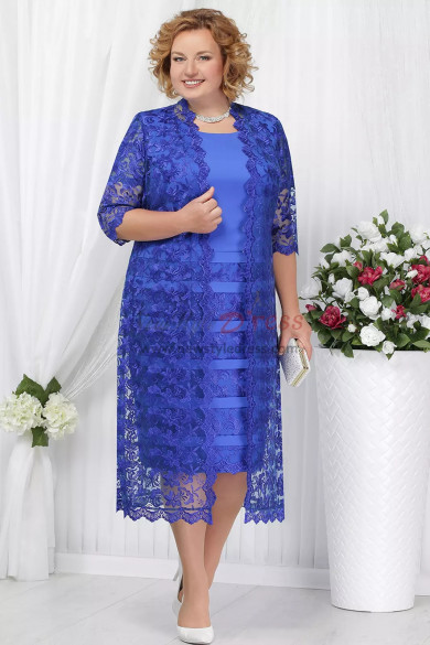 Royal blue Plus size Mother of the bride dress with jacket  Mid-Calf lace women