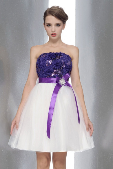 Strapless purple White Short Dresses Wedding Party Waist With a bow nm-0169