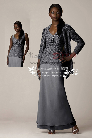 Charcoal Three piece mother of the bride dress with lace jacket customizable cms-075
