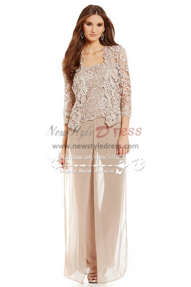 Champagne lace 3pc pantset mother of the bride pant suits for Mother of the bride dresses summer wedding