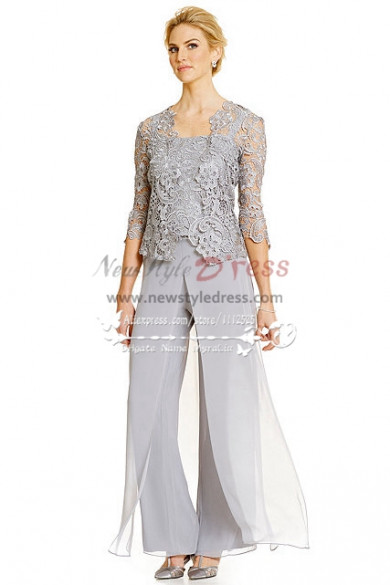 Silver grey 3PC Pantset for Summer wedding Mother of the bride pant suits with lace jacket  nmo-272