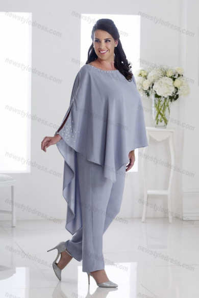 Plus size Mother of the bride pants suits Gray Asymmetry women