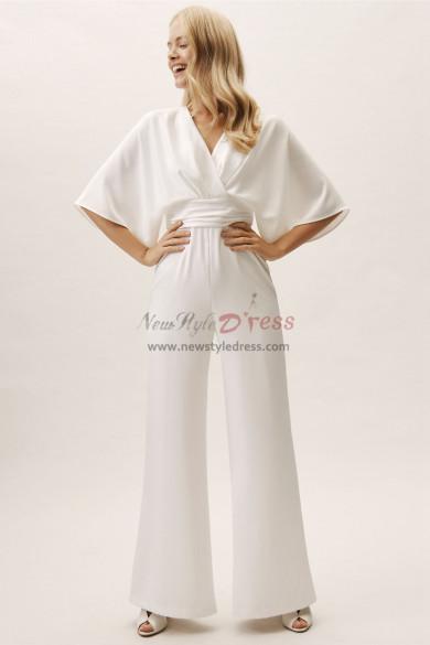 2019 Dressy Empire Bridal Jumpsuit for Beach Wedding wps-127