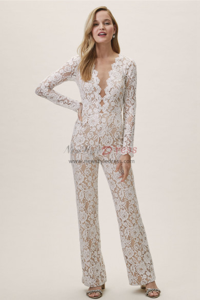 Deep V-Neck Lace Bridal Jumpsuits Wedding Pantsuit dresses wps-131