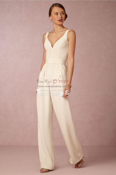 Modern bridal jumpsuit Simple wedding pantsuits wps-078