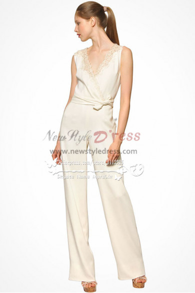 V-neek jumpsuit  Glamorous Ivory wedding dress Bride Pants Suit  wps-061
