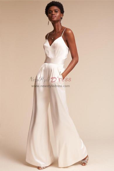 Charmeuse Spaghetti Wedding Jumpsuits dresses Wide Leg wps-126