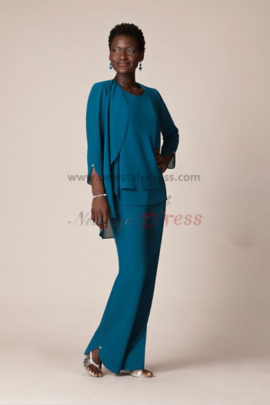 Blue Chiffon Three Piece mother of the bride pants suits With jacket nmo-053