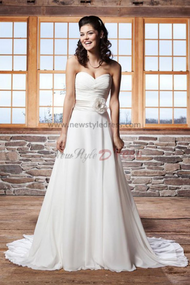 Latest Fashion A line Sweetheart Chiffon Beach wedding dress Waist With a flower nw-0236