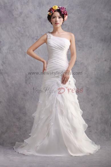 Latest Fashion Layered Sheath Zipper-Up One Shoulder lovely under 200 Wedding Dresses nw-0178